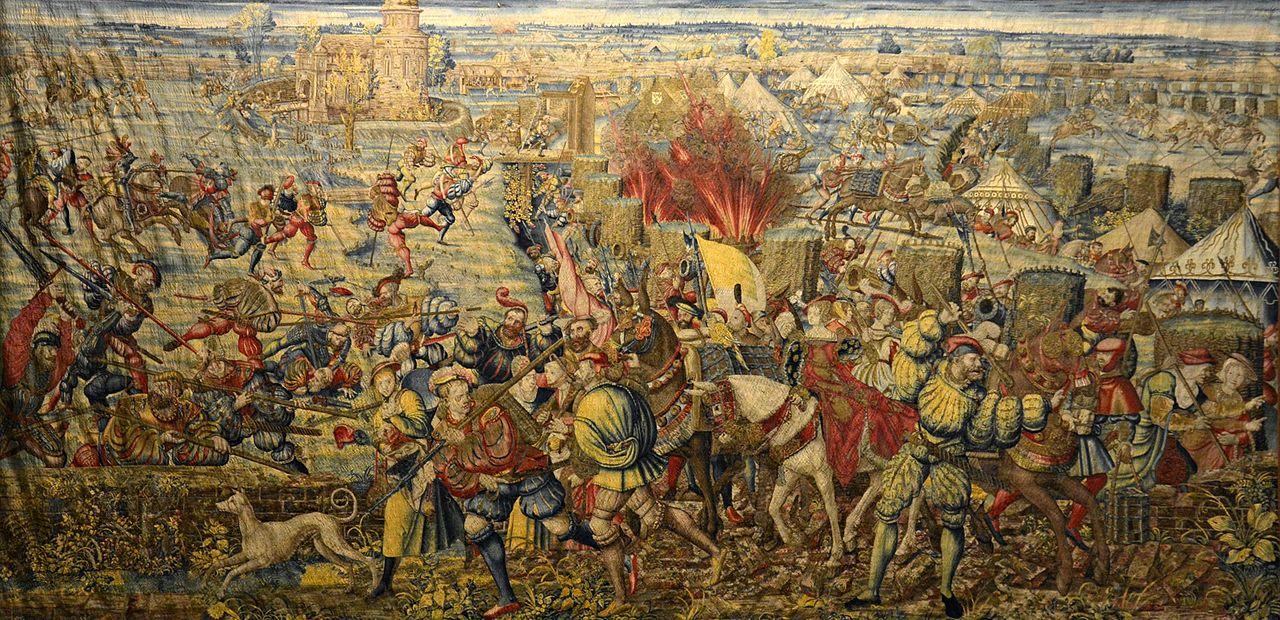 https://upload.wikimedia.org/wikipedia/commons/thumb/a/a6/Invasione_del_campo_francese_e_fuga_delle_dame_e_dei_civili_al_seguito_di_Francesco_I%2C_Bernard_van_Orley_001.jpg/1280px-Invasione_del_campo_francese_e_fuga_delle_dame_e_dei_civili_al_seguito_di_Francesco_I%2C_Bernard_van_Orley_001.jpg