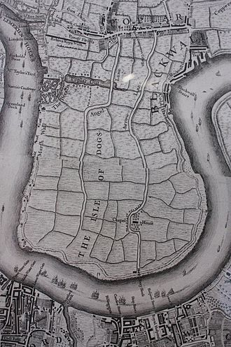 Isle of Dogs - Isle of Dogs as shown in John Rocque's map of London, 1747 showing the area before development
