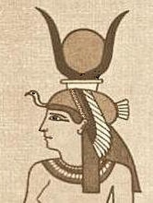 Iusaaset - The grandmother of the deities, Iusaaset, shown with her horned Egyptian vulture crown with the uraeus and the solar disk in it