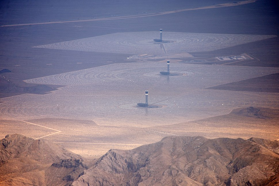Ivanpah Solar Power Facility from the air 2014