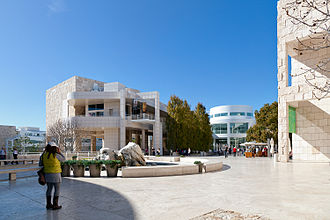 J. Paul Getty Museum - Architect Richard Meier chose beige-colored Italian travertine panels to cover the retaining walls and to serve as paving stones for the arrival plaza and Museum courtyard.