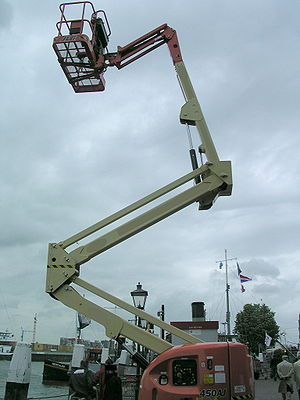 Aerial work platform - Articulated lift being demonstrated.