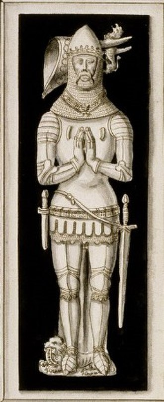 John IV, Duke of Brittany - Drawing c.1700 of English-made effigy of John IV of Brittany, on white arcaded chest tomb, Nantes Cathedral. Original monument destroyed. Drawing by Roger de Gaignières.