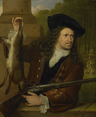 Portrait of Jan de Hooghe (1650-1731), brother of Anna de Hooghe, dressed for hunting