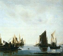 Coast Scene with Sailing Vessels