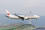 Japan Air Lines, JL894, Boeing 737-846, JA315J, Arrived from Shanghai, Kansai Airport (16577209683).jpg