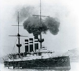 Japanese cruiser Iwate - Iwate at anchor, 1902
