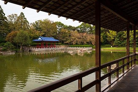 Japanese garden pond at Daisen Park in Sakai.