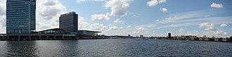 Eastern Docklands - Panorama over the IJ from Java Island.