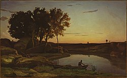Jean-Baptiste Camille Corot: Landscape with Lake and Boatman