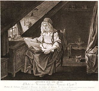 """Facial Angles (Camper) - Greuze's """"Retour sur soi-même"""" was an example of a bad likeness of the head of an old woman, because classical drawing theory was applied which was based on a young adult male's head. Merely adding wrinkles and a costume cannot help a poor likeness."""