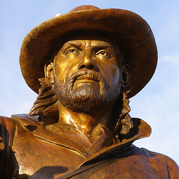 English: Mountain Man Jim Bridger bronze sculp...