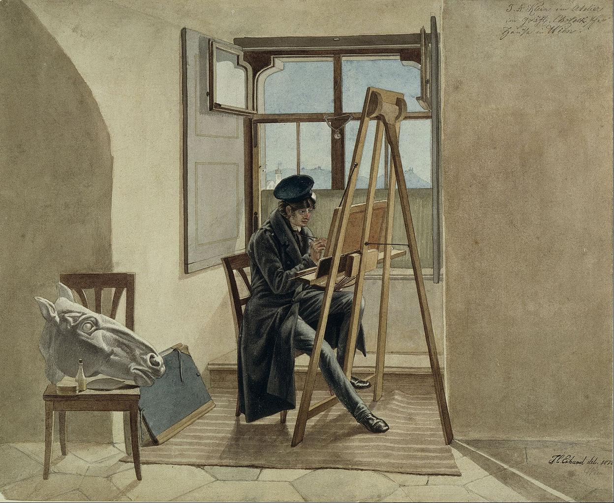 File:Johann Christoph Erhard - The Painter Johann Adam Klein at the easel in his studio in the Palais Chotek in Vienna - Google Art Project.jpg