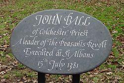 Photo of John Ball plaque