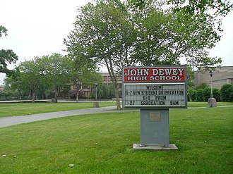 "New York City Department of Education - John Dewey High School's 13 acre campus, Dewey is the only public school in New York City to have a 13-acre campus. A bronze statue is also situated on the campus titled ""The Key to Knowledge"" symbolizing progressive education."