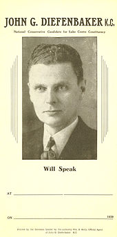 Election poster naming Diefenbaker and with his photograph, with blank spaces for the time and place at which he would speak. His hair is still short and dark, and is combed back, and his face appears much the way it will in later years. He wears a jacket and tie.