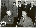 John Diefenbaker and Dwight Eisenhower at signing of Columbia River Treaty (January 1961).jpg