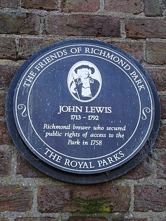 Plaque outside Sheen Gate to John Lewis, the Richmond brewer who secured public rights of access to the park in 1758 John Lewis 1713-1792 Richmond brewer who secured public rights of access to the park in 1758.jpg