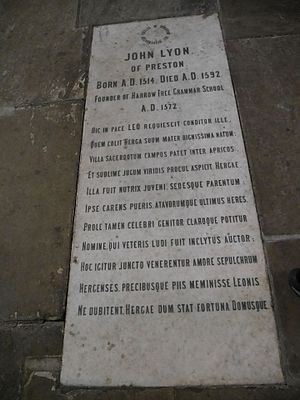 John Lyon (school founder) - John Lyon memorial, St Mary's, Harrow on the Hill