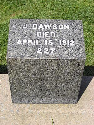Gravestone of Joseph Dawson, member of the cre...