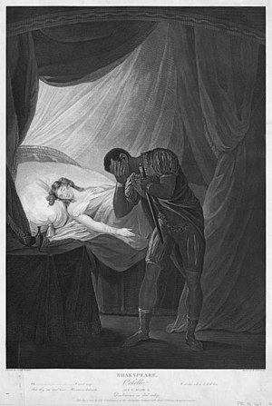 Josiah Boydell - Desdemona Asleep, from Othello (Act V, scene 2), drawn by Josiah Boydell for the Folio published by the Boydell Shakespeare Gallery