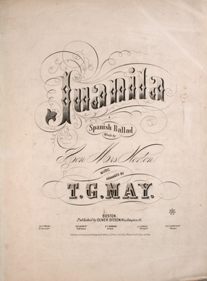 Juanita (song) - Image: Juanita Sheet Music Cover 1855