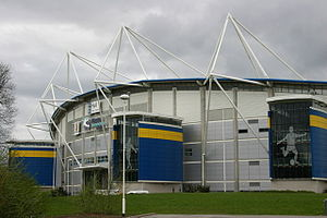KCOM Stadium - The stadium decorated with blue and gold accents