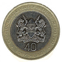 A 40 Kenyan Shilling Coin Issued On The Occasion Of 40th Anniversary Independence Republic Kenya