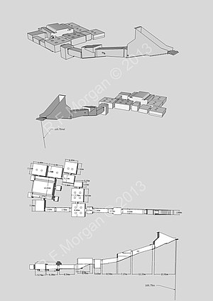KV7 - Isometric, plan and elevation images of KV7 taken from a 3d model