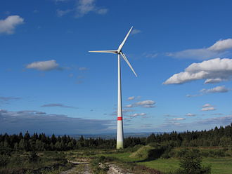 Bingen Forest - The Kandrich plateau with its wind generator (Typ E-70); view looking northeast to the Rhine