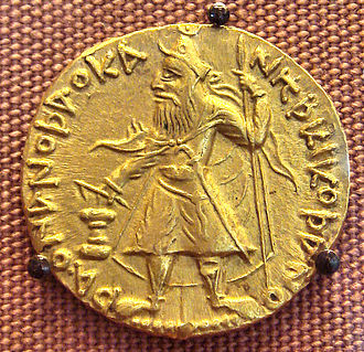 Kanishka - Gold coin of Kanishka. British Museum.