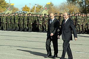 Kant (air base) -  Russian president Vladimir Putin and former president Askar Akayev at Kant Air Base