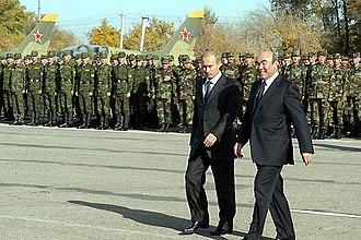 Kant (air base) - Russian president Vladimir Putin and former president Askar Akayev at Kant Air Base