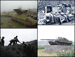 Da sinistra a destra, dall'alto in basso: 2005 carro armato azero abbandonato; 1993 profughi azeri; 1994 truppe del RNK sulle montagne; 2007 memoriale della guerra