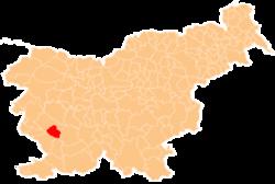 Loko de la Municipo de Vipava en Slovenio