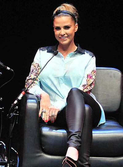 Katie Price, English television personality, businesswoman, model, author, singer, and designer