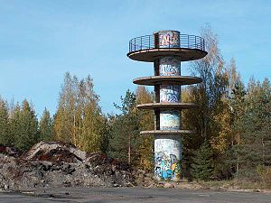 Keimola Motor Stadium - The burned control tower in 2005.