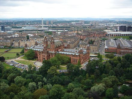 The view over the Kelvingrove Art Gallery and Museum from the University of Glasgow tower. Kelvingrove Art Gallery and Museum from the University of Glasgow Tower.jpg