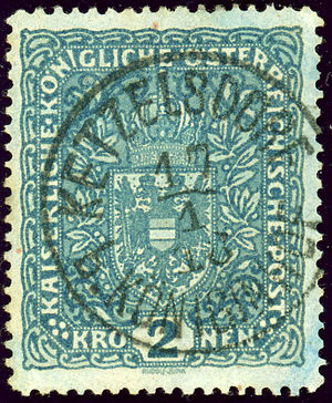 Dvůr Králové nad Labem - Austrian KK 2 kronen stamp cancelled in a nearby village in 1918