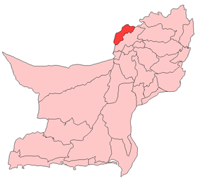 Localisation du district de Killa Abdullah au sein de la province du Baloutchistan.