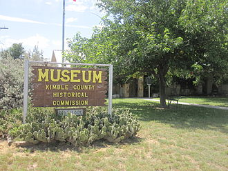 Kimble County, Texas - Kimble County Museum sign