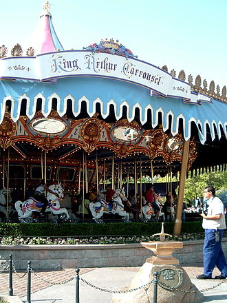 King Arthur Carrousel - King Arthur succeeded to the throne by pulling Excalibur from the Stone. A ceremony is held here to determine who in the realm shall reign as king for the day.