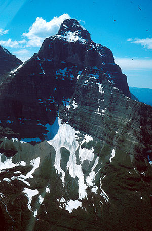 Pyramidal peak - Kinnerly Peak, in Glacier National Park, United States.
