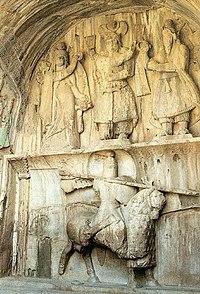 Mounted Persian knight, Taq-e Bostan, Iran.