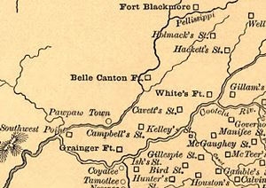 """Bob Benge - Detail from Goodspeed's """"Aboriginal Map of Tennessee"""", showing the various forts and frontier stations in what is now East Tennessee, circa 1780s and 1790s. White's Fort is now Knoxville, Campbell's Station is now Farragut, Southwest Point is now Kingston, Gamble's Station corresponds to modern Walland, McTeer's Station was near modern Seymour, and Gillespie Station was near modern Maryville. Cavett's Station, located in the Bearden area of West Knoxville, was sacked by the Cherokee in 1793."""