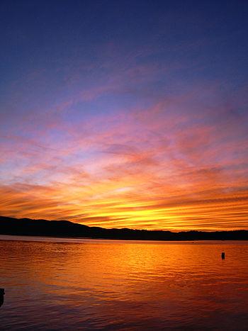 English: colourful sunset. knysna, south afric...