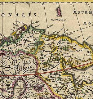 Treaty of Novgorod (1326) - Dutch map of Finnmark (1660), showing the northern regions of Norway, Sweden and Russia.
