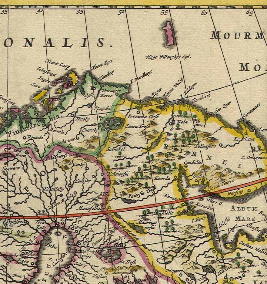 Kola Peninsula map from 1660