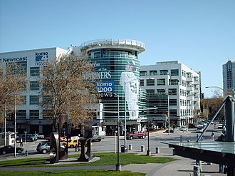 KOMO-TV - KOMO's present broadcast facility, formerly known as Fisher Plaza, completed in 2001. The broadcast portion of the complex was opened in June 2000.