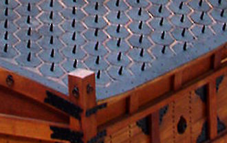 Turtle ship - Deck Spikes on the Turtle Ship in the War Memorial of Korea museum
